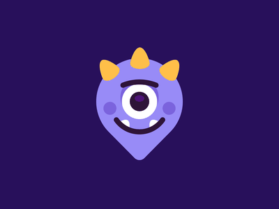 Pin Monster minimal creative vector purple cute icon app silly creature graphic design design logo character funny cartoon mascot flat illustration monster pin