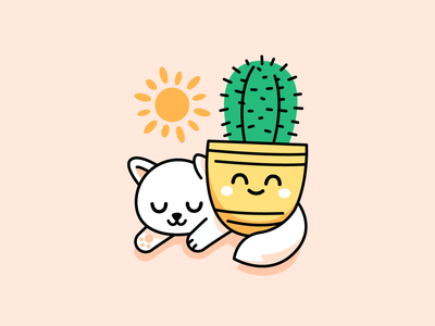 Kitty and Cactus Pot summer friends graphic design sun home outline clipart sweet cute animal cactus kitty cat design logo funny cartoon mascot flat illustration
