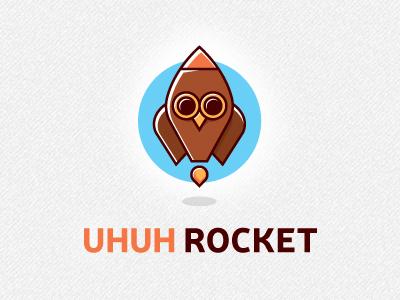 Uhuh Rocket outline logo rocket owl animal startup launch space fire astronaut logo