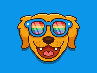 Dog Rainbow Glasses best friend summer sunglasses cute animal graphic design t-shirt lgbtq outline merchandise branding character funny cartoon mascot flat illustration rainbow golden retriever dog