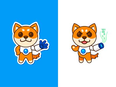 Shiba Inu Cyborg Mascot shiba inu robot kawaii adorable animal graphic design digital outline android cyborg dog branding design logo character funny cartoon mascot flat illustration