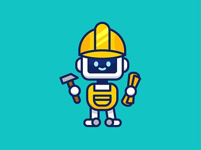 Construction Robot Logo Mascot graphic design android icon cute work in progress developer creation construction robot simple minimal outline design logo character funny cartoon mascot flat illustration