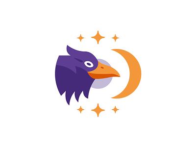 Magic Raven bird witchcraft stars moon purple mystic vector night halloween creative badge graphic design mascot logo animal fantasy flat illustration magic raven