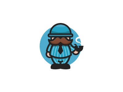 Mini Gentleman mustache outline logo gentleman logo icon pipe elegant character cartoon detective illustrative