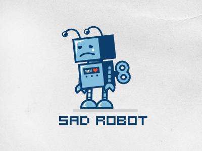 Sad Robot outline logo sad robot logo design vintage toy heart love illustration