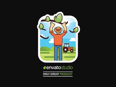 Envato Studio Challenge - Vote me :) outline logo challenge illustration concept tractor farm farmer t shirt green landscape sticker