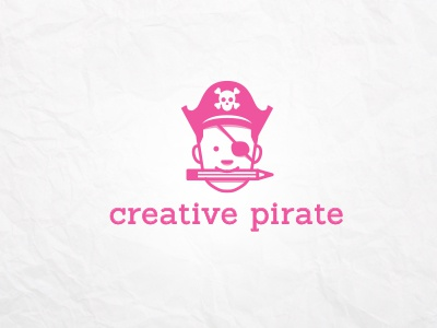 Creative Pirate outline logo face creative skull pirate pink minimal man kid funny fun flat