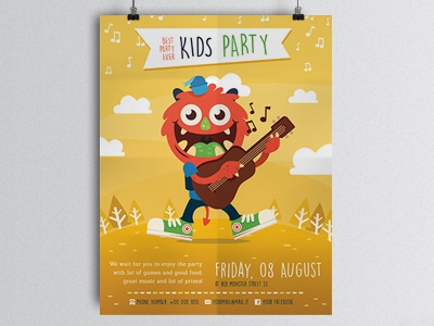 Party Kid Illustrated Flyer Template musician illustration kid party a6 flyer print illustrated flyer music kids mascot monster spring flyer party flyer