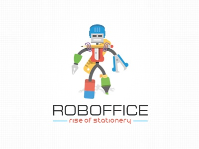 Roboffice Rise of stationery flat logo mascot droid pen stamp rule pencil stationary robot character mascot office