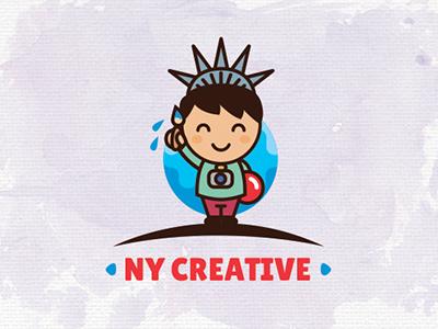 Ny Creative art joy tourism cute kid children brush statue of liberty outline logo outline creative new york