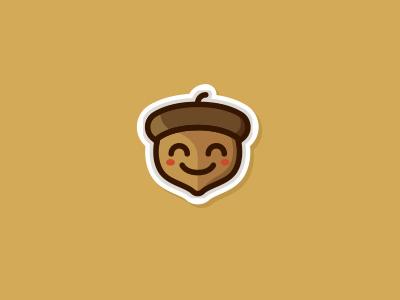 Nutie - the cute nut  autumn eco friendly woodland kawaii logo kawaii cartoon mascot logo sticker sweet cute nut