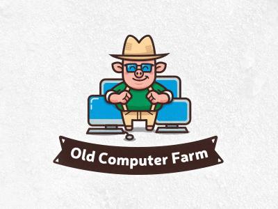 Old Computer Farm mascot character cartoon pig mascot animal cloud hosting web technology logo computer farm