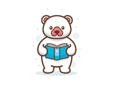 Polar Bear Reading Fairy Tales book school children mascot logo chubby bear cute animal sticker fairy tales polar bear bear animal