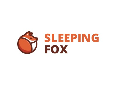 Sleeping Fox fox foxy animal logo mark brand sleeping sleep red orange warm warming illustration illustrative cute fun funny geometric geometry dream dreaming symbol tail mascot