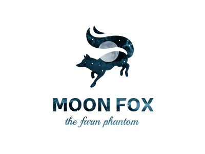 Moon Fox branding design vector cute logo funny cartoon illustration logo mark brand illustrative illustration phantom farm symbol silhouette fantasy magic animal night moon fox