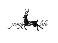 Deer - Jump for life handmade illustration logo silhouette woodland forest typo typographic ink vintage animal deer