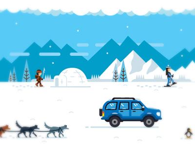 Arctic illustration winter sled dogs snow arctic igloo illustration penguin jeep huskie alaska antarctica