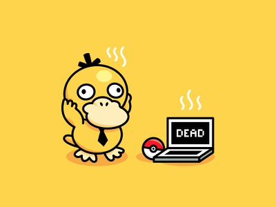Psyduck - Pokemon Playoff vector cute design sticker creative character funny cartoon mascot pokémon go pokémon pokemon pokeball psychic virus laptop playoff yellow illustration duck nintendo psyduck