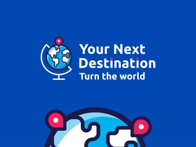 Your Next Destination APP logo travel traveling icon app icon flat design blue color illustration push pin pin map logo mark brand world map app application
