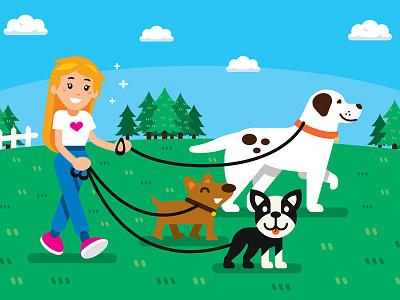 Dog Sitter Illustration landing page funny pet background funny dog flat vector mascot summer spring illustration cute girl dog sitter