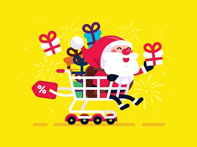 Santa Claus Shopping Cart Illustration sweet children logo funny cute design sticker cartoon mascot character vector flat santa claus mascot illustration black friday gift christmas discount shopping santa claus
