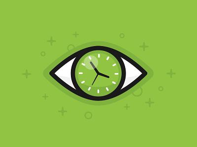 Time illustration flat video animation illustration green creative visual icon logo concept eye time clock