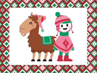 Perù Girl and Llama + Perù pattern
