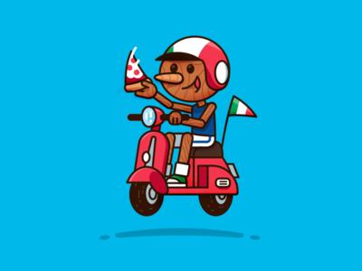 Pinocchio Pizza Italy vector design creative character logo flat mascot illustration playoff italia kid children cartoon tuscany vespa funny italy pizza pinocchio sticker stickermule