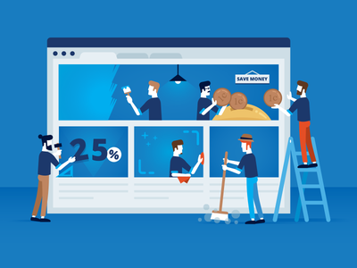 Build Website Landing Page Illustration studio design vector creative character funny cartoon mascot hipster characters flat blue 404 error page web solution build team construction web website illustration landing page