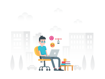 The designer's concentration working icons character cartoon landing page laptop background emoji dribbble artist designer illustration
