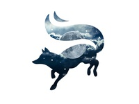 Moon Fox II symbol design branding design vector logo flat mascot illustration creative sky symbol silhouette night magic logo mark brand illustrative illustration fantasy animal moon fox
