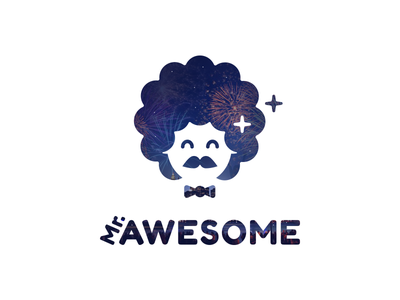 Mr Awesome simple minimal mascot flat papillon afro funny smile silhouette face mustache logo