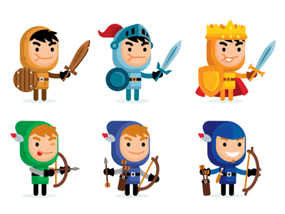 30 Fantasy Vector Characters - level up game art game app design vector funny mascot cartoon illustration vector set hero game rpg medieval fantasy flat cute character archer knight level up