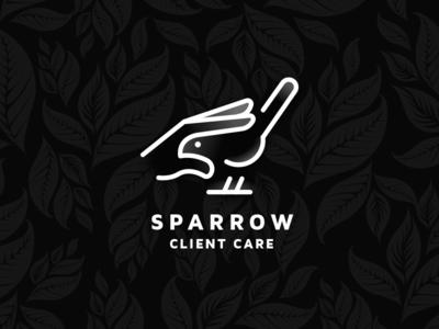 Sparrow branding mascot line art design vector cartoon illustration flat negative space growth relationship lines creative bird outline hand hidden message care sparrow logo