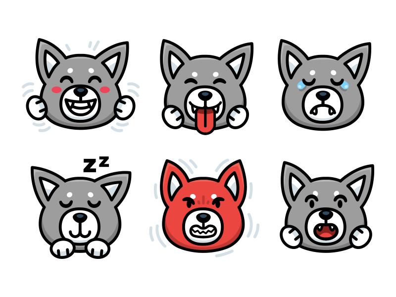 Wolf character Emoji twitch sticker expressions illustration funny emoticon icon husky dog wolf face emoji