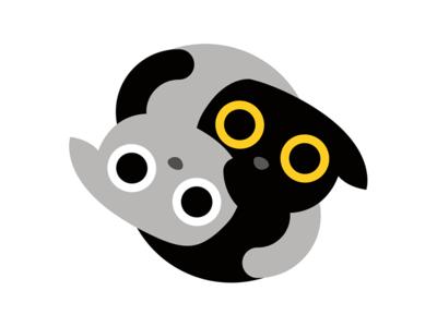 Yin Yang kittens sticker emoji emoticon app application hug flat sweet fluffy cute friends cat kittens kitty yin yang