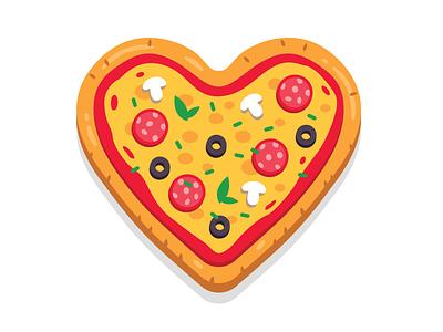Pizza Love olive mushroom design simple sticker icon flat logo cheese tasty funny creative recipe food italy cartoon illustration heart pizza love