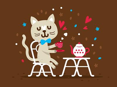 Cute Animals - Cat boho chic kids children design vector animal character mascot cute flat vintage cartoon clipart doodle illustration funny sweet kitty cat tea
