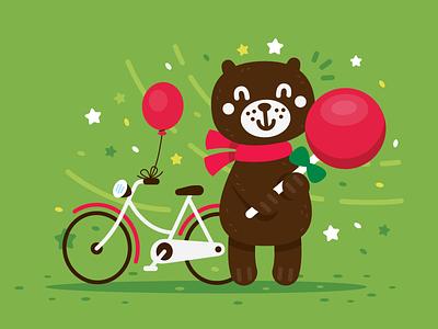 Cute Animals - Bear kawaii simple design children vector creative character mascot animal cartoon vintage funny flat illustration clipart sweet cute bike lollipop bear