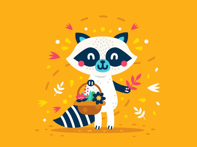 Cute Animals - Raccoon logo design simple sticker creative icon cartoon mascot flat character vintage animal woodland spring floral flower sweet cute illustration clipart raccoon