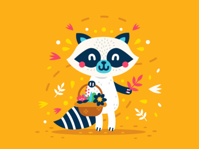 Cute Animals - Raccoon logo design simple sticker creative icon cartoon mascot flat character vintage animal woodland spring floral flower sweet cute illustration clipart raccoon