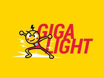 Gigalight logo Mascot superhero speed thunder funny flat e-commerce cloud service marketing platform hosting services cartoon mascot logo