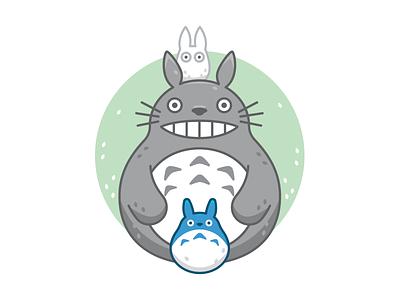 Totoro Family flat totoro supahcute miyazaki kawaii illustration colorful character sweet cute my neighbor totoro ghibli