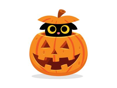 Pumpkin Kitty mascot icon sticker creative cute character animal cartoon black orange spooky illustration flat hide and seek sweet cute funny trick or treat halloween kitty cat pumpkin