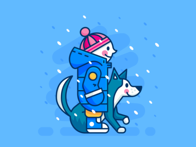 Winter - Kid and Dog Friends sticker creative icon character animal flat cartoon mascot geometric minimal cute john snow game of thrones friends blue snow outline illustration dog wolf husky children kid winter fall