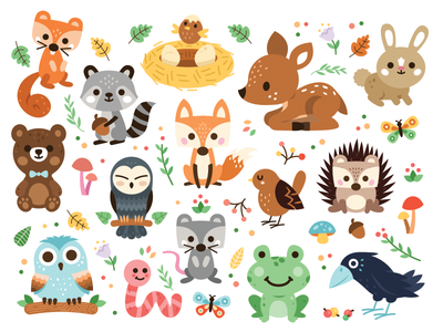 Woodland Animals design sticker sweet creative icon cute animal cartoon clipart mushroom flowers sweet cute fawn hedgehog butterfly flat illustration boho bird bear rabbit frog crow owl fox raccoon squirrel animals woodland