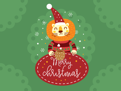 Christmas Lion Illustration Badge xmas animal flat clipart illustration sweet cute vintage boho badge merry christmas lion