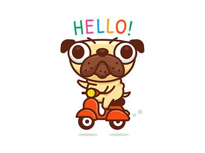 Pug ride Vespa mascot chubby sweet italy logo sticker clipart fun funny animal cartoon vespa pug dog