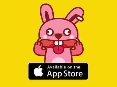 Brat Bunny Emoji App character mascot outline app animal flat brat fun funny cartoon pink bunny sticker emoticon emoji