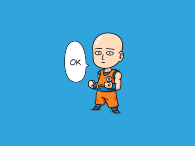 Saitama dress like Goku face simple sticker sweet creative flat mascot illustration meme power chibi cute character outline funny dragonball one punch man cartoon saitama goku